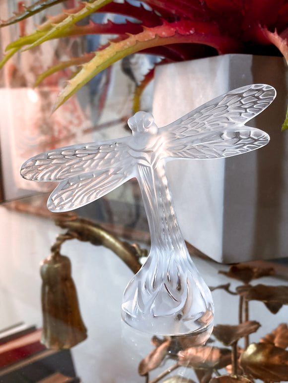 Lalique Clear Crystal Flying Dragonfly Sculpture France 21st Century