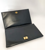 Classic Black Belgium Leather Suede Lined Medium Clutch Hand Bag Open