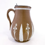 1850s Antique English White Flora Tan Syrup Jug by Dudson Pottery 3