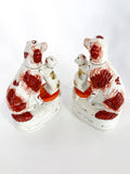 Antique Pair Rare Staffordshire Cat and Spaniel Dog Porcelain Figurines Side 5
