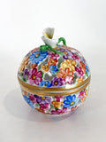 Herend Hand Painted Colorful Floral Openwork Porcelain Sphere Bonbonniere Box Side 1