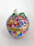 Herend Hand Painted Colorful Floral Openwork Porcelain Sphere Bonbonniere Box Side 2