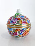 Herend Hand Painted Colorful Floral Openwork Porcelain Sphere Bonbonniere Box Side 3