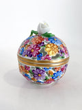 Herend Hand Painted Colorful Floral Openwork Porcelain Sphere Bonbonniere Box Side 4