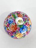 Herend Hand Painted Colorful Floral Openwork Porcelain Sphere Bonbonniere Box Top