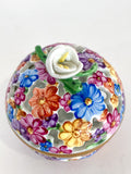 Herend Hand Painted Colorful Floral Openwork Porcelain Sphere Bonbonniere Box Flower Close Up