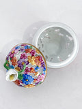 Herend Hand Painted Colorful Floral Openwork Porcelain Sphere Bonbonniere Box Open