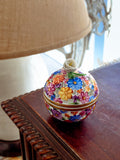 Herend Hand Painted Colorful Floral Openwork Porcelain Sphere Bonbonniere Box 1