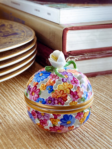 Herend Hand Painted Colorful Floral Openwork Porcelain Sphere Bonbonniere Box