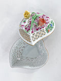 Herend Hand Painted Floral Lattice Reticulated Porcelain Heart Box
