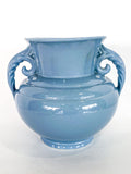 Vintage Light Blue Seaside Abingdon 552 Handled Ceramic Vase Side 1
