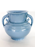 Vintage Light Blue Seaside Abingdon 552 Handled Ceramic Vase Side 2