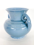 Vintage Light Blue Seaside Abingdon 552 Handled Ceramic Vase Side 3