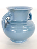 Vintage Light Blue Seaside Abingdon 552 Handled Ceramic Vase Side 4