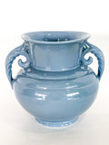Vintage Light Blue Seaside Abingdon 552 Handled Ceramic Vase Side 5