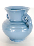 Vintage Light Blue Seaside Abingdon 552 Handled Ceramic Vase Side 6