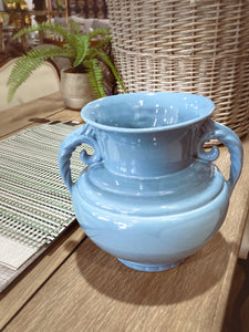 Vintage Light Blue Seaside Abingdon 552 Handled Ceramic Vase