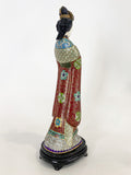 Vintage Cloisonné Robe Gilt Enamel Chinese Woman Figurine Sculpture Side 5