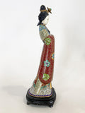 Vintage Cloisonné Robe Gilt Enamel Chinese Woman Figurine Sculpture Side 6