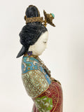 Vintage Cloisonné Robe Gilt Enamel Chinese Woman Figurine Sculpture Profile Close Up 2