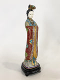 Vintage Cloisonné Robe Gilt Enamel Chinese Woman Figurine Sculpture Side 7