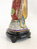 Vintage Cloisonné Robe Gilt Enamel Chinese Woman Figurine Sculpture Base Close Up