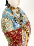 Vintage Cloisonné Robe Gilt Enamel Chinese Woman Figurine Sculpture Necklace Close Up