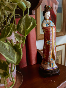 Vintage Cloisonné Robe Gilt Enamel Chinese Woman Figurine Sculpture