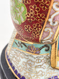 Vintage Cloisonné Robe Gilt Enamel Chinese Woman Figurine Sculpture Robe Close Up 2