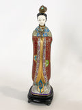 Vintage Cloisonné Robe Gilt Enamel Chinese Woman Figurine Sculpture Front