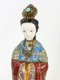 Vintage Cloisonné Robe Gilt Enamel Chinese Woman Figurine Sculpture Close Up Face