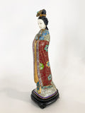 Vintage Cloisonné Robe Gilt Enamel Chinese Woman Figurine Sculpture Side 1