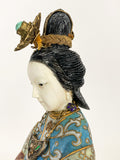 Vintage Cloisonné Robe Gilt Enamel Chinese Woman Figurine Sculpture Profile Close Up