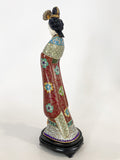 Vintage Cloisonné Robe Gilt Enamel Chinese Woman Figurine Sculpture Side 3