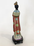 Vintage Cloisonné Robe Gilt Enamel Chinese Woman Figurine Sculpture Side 4