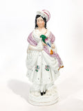 Antique 19th Century Staffordshire Lady Holding Parrot Porcelain Figure Sculpture Front