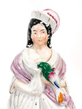 Antique 19th Century Staffordshire Lady Holding Parrot Porcelain Figure Sculpture Close Up Torso