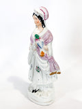 Antique 19th Century Staffordshire Lady Holding Parrot Porcelain Figure Sculpture Side 1
