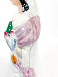 Antique 19th Century Staffordshire Lady Holding Parrot Porcelain Figure Sculpture Close Up Seam