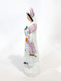 Antique 19th Century Staffordshire Lady Holding Parrot Porcelain Figure Sculpture Side 2