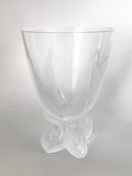 Vintage Lalique Clear Crystal Fern Shell Motif Ormonde Footed Vase Side 1