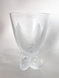 Vintage Lalique Clear Crystal Fern Shell Motif Ormonde Footed Vase Side 3