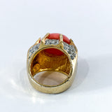 Vintage Kenneth Lane Rhinestone Coral Gold Costume Statement Ring Inside
