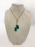 Red I Collection Green Shimmer Glass Pendant Gold Vintage Costume Necklace On Form