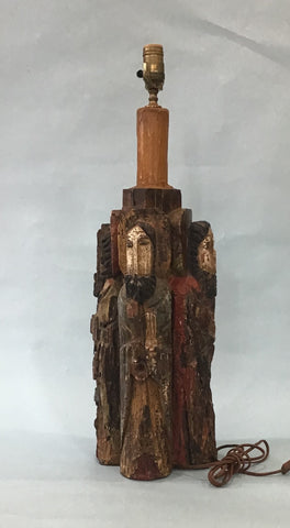 A Hand Carved Wooden Lamp, Santo Figures, Provenance Sloane's New York