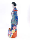 20th Century Colorful Hand Painted Lady Reading Chinese Figurine Sculpture Left Side