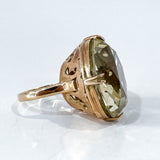 Stunning Vintage 14K Yellow Gold Large Citrine Statement Gemstone Ring Side