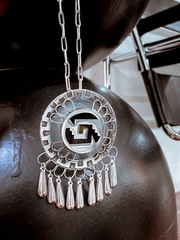 Vintage Mexican Sterling Silver Dreamcatcher Dangle Pendant Necklace