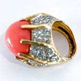 Vintage Kenneth Lane Rhinestone Coral Gold Costume Statement Ring Inside Bottom