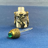 Tiny Vintage Glass Scent Bottle Glass Encased by Sculpted Silver Cupids, France